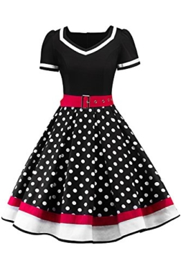 MisShow Damen elegant 50er Jahre Petticoat Kleider Gepunkte Rockabilly Kleider Cocktailkleider - 1