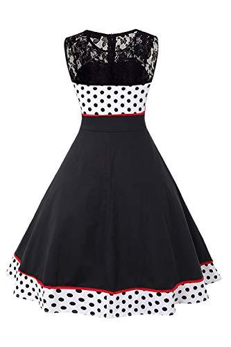 MisShow Damen elegant Petticoat Kleid 50er Jahre Rockabilly Retro Vintage Kleid Faltenrock Kleid Weiss L - 2