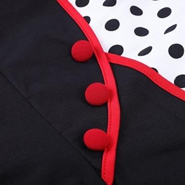MisShow Damen elegant Petticoat Kleid 50er Jahre Rockabilly Retro Vintage Kleid Faltenrock Kleid Weiss L - 3