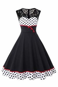 MisShow Damen elegant Petticoat Kleid 50er Jahre Rockabilly Retro Vintage Kleid Faltenrock Kleid Weiss L - 1