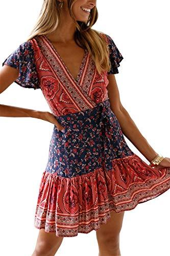 MisShow Damen Kleider mit Blüte Drucken Kurz Sommerkleid Strandkleider Cocktailkleid Gr. S - 5