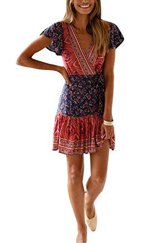 MisShow Damen Kleider mit Blüte Drucken Kurz Sommerkleid Strandkleider Cocktailkleid Gr. S - 6