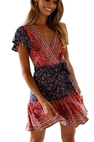 MisShow Damen Kleider mit Blüte Drucken Kurz Sommerkleid Strandkleider Cocktailkleid Gr. S - 1