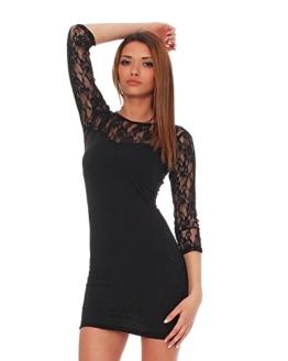 Mississhop 93-43 Japan Style Damen Kleid mit SpitzeTunika Minikleid Longshirt schwarz XL - 1