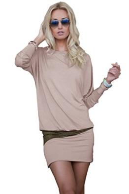 Mississhop 95-31 Damen Minikleid festlich Glitzer Kleid Pulli Tunika Cappuccino XL - 1