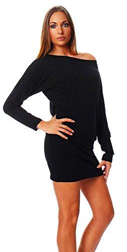 Mississhop Fab Damen Kleid Minikleid Langarmshirt Longshirt Pulli Tunika Schwarz L - 2