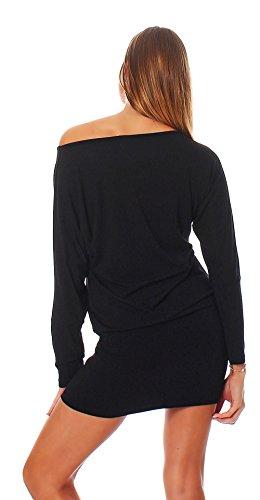 Mississhop Fab Damen Kleid Minikleid Langarmshirt Longshirt Pulli Tunika Schwarz L - 3