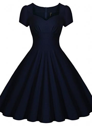 Missmay Damen Knielang V-Ausschnitt Business Abenkleid Festlich Partykleid Blau Gr.36-46 (40 (M)., Blau) -