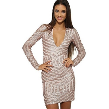 Missord Damen Cocktail Kleid Gold oro M - 5
