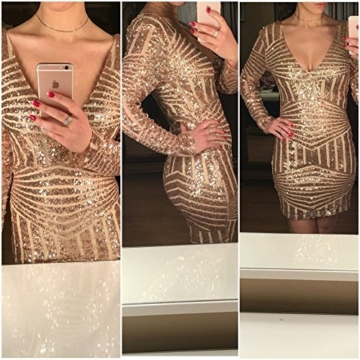 Missord Damen Cocktail Kleid Gold oro M - 6