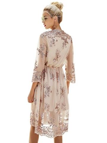 Missy Chilli Damen Knielangkleid Elegant Langarm V-Ausschnitt Pailletten Festlich Kleider Partykleid Abendkleid Gold, Gr.-Large/40 EU,Beige - 2