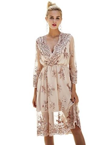 Missy Chilli Damen Knielangkleid Elegant Langarm V-Ausschnitt Pailletten Festlich Kleider Partykleid Abendkleid Gold, Gr.-Large/40 EU,Beige - 3