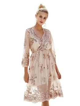 Missy Chilli Damen Knielangkleid Elegant Langarm V-Ausschnitt Pailletten Festlich Kleider Partykleid Abendkleid Gold, Gr.-Large/40 EU,Beige - 1