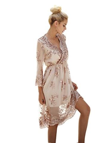 Missy Chilli Damen Knielangkleid Elegant Langarm V-Ausschnitt Pailletten Festlich Kleider Partykleid Abendkleid Gold, Gr.-Large/40 EU,Beige - 4