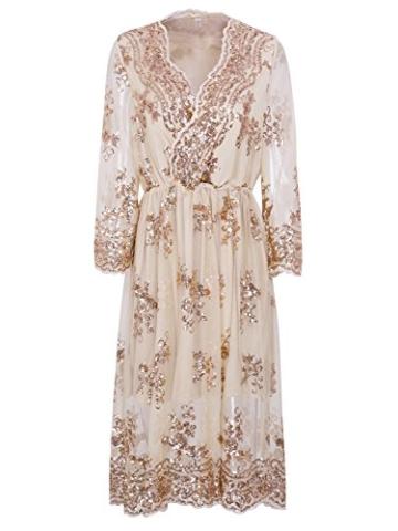 Missy Chilli Damen Knielangkleid Elegant Langarm V-Ausschnitt Pailletten Festlich Kleider Partykleid Abendkleid Gold, Gr.-Large/40 EU,Beige - 5