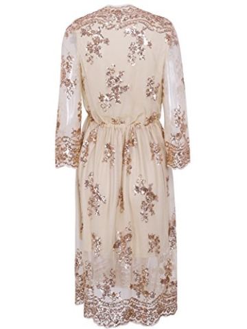 Missy Chilli Damen Knielangkleid Elegant Langarm V-Ausschnitt Pailletten Festlich Kleider Partykleid Abendkleid Gold, Gr.-Large/40 EU,Beige - 6