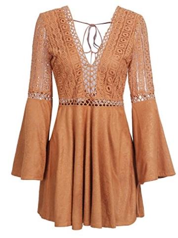Missy Chilli Damen Kurz Kleid Elegant Langarm V-Ausschnitt Rückenfrei Cusual Spitze Kleid mit Trompete Ärmel, Gr.-36/ Medium - 4
