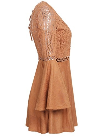 Missy Chilli Damen Kurz Kleid Elegant Langarm V-Ausschnitt Rückenfrei Cusual Spitze Kleid mit Trompete Ärmel, Gr.-36/ Medium - 5