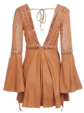 Missy Chilli Damen Kurz Kleid Elegant Langarm V-Ausschnitt Rückenfrei Cusual Spitze Kleid mit Trompete Ärmel, Gr.-36/ Medium - 6