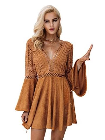 Missy Chilli Damen Kurz Kleid Elegant Langarm V-Ausschnitt Rückenfrei Cusual Spitze Kleid mit Trompete Ärmel, Gr.-36/ Medium - 1