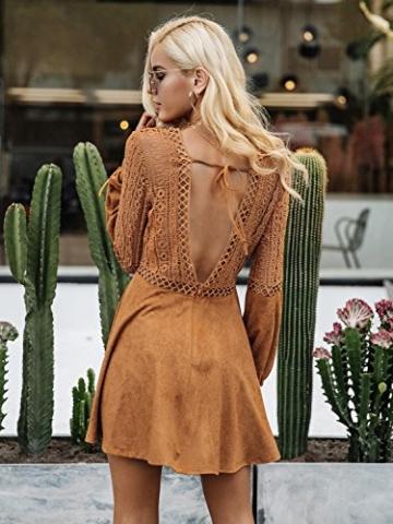 Missy Chilli Damen Kurz Kleid Elegant Langarm V-Ausschnitt Rückenfrei Cusual Spitze Kleid mit Trompete Ärmel, Gr.-36/ Medium - 2