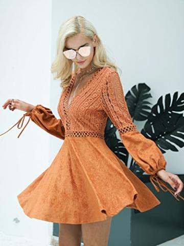 Missy Chilli Damen Kurz Kleid Elegant Langarm V-Ausschnitt Rückenfrei Cusual Spitze Kleid mit Trompete Ärmel, Gr.-36/ Medium - 3