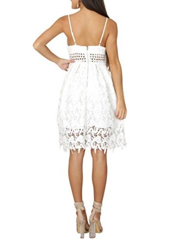 Missy Chilli Damen Midi Kleid Sommer Sexy Elegant Ärmellos V Ausschnitt Rückenfrei Spitz Knielang Kleid Party Kleid Dress Hochzeit Weiß - 2