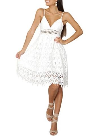 Missy Chilli Damen Midi Kleid Sommer Sexy Elegant Ärmellos V Ausschnitt Rückenfrei Spitz Knielang Kleid Party Kleid Dress Hochzeit Weiß - 3