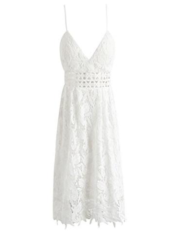 Missy Chilli Damen Midi Kleid Sommer Sexy Elegant Ärmellos V Ausschnitt Rückenfrei Spitz Knielang Kleid Party Kleid Dress Hochzeit Weiß - 4