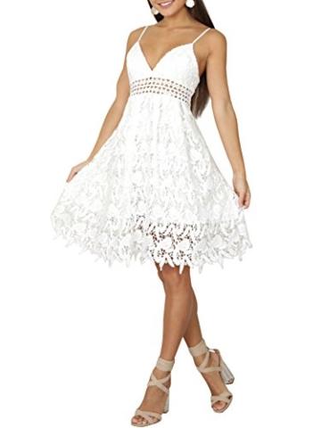 Missy Chilli Damen Midi Kleid Sommer Sexy Elegant Ärmellos V Ausschnitt Rückenfrei Spitz Knielang Kleid Party Kleid Dress Hochzeit Weiß - 1