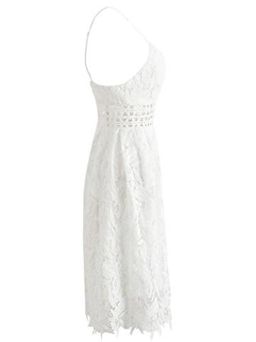Missy Chilli Damen Midi Kleid Sommer Sexy Elegant Ärmellos V Ausschnitt Rückenfrei Spitz Knielang Kleid Party Kleid Dress Hochzeit Weiß - 5