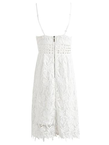 Missy Chilli Damen Midi Kleid Sommer Sexy Elegant Ärmellos V Ausschnitt Rückenfrei Spitz Knielang Kleid Party Kleid Dress Hochzeit Weiß - 6