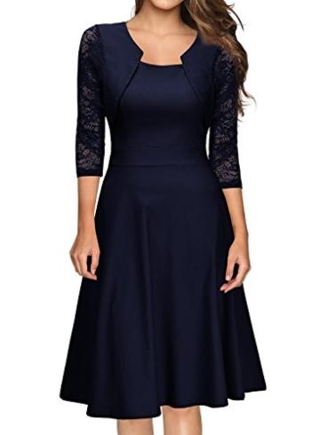 Miusol Damen Abendkleid Elegant Cocktailkleid Vintage Kleider 3/4 Arm mit Spitzen Knielang Party Kleid Navy Blau Gr.XS - 2