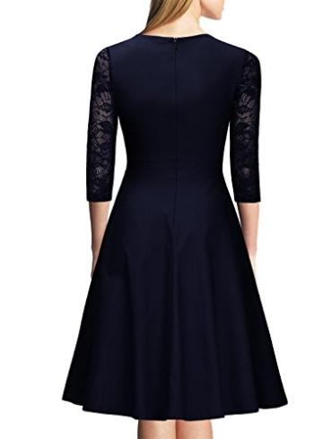 Miusol Damen Abendkleid Elegant Cocktailkleid Vintage Kleider 3/4 Arm mit Spitzen Knielang Party Kleid Navy Blau Gr.XS - 3