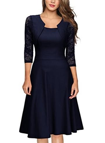 Miusol Damen Abendkleid Elegant Cocktailkleid Vintage Kleider 3/4 Arm mit Spitzen Knielang Party Kleid Navy Blau Gr.XS - 1