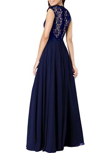 Miusol Damen Aermellos V-Ausschnitt Spitzenkleid Brautjungfer Cocktailkleid Chiffon Faltenrock Langes Kleid Blau Groesse M - 2
