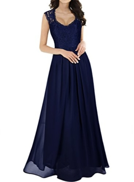 Miusol Damen Aermellos V-Ausschnitt Spitzenkleid Brautjungfer Cocktailkleid Chiffon Faltenrock Langes Kleid Blau Groesse M - 1