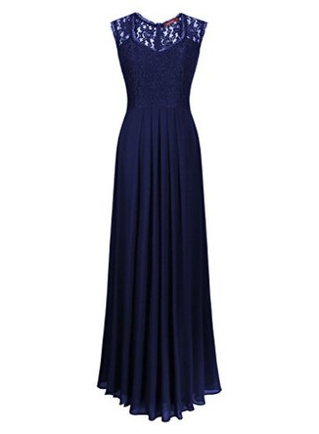 Miusol Damen Aermellos V-Ausschnitt Spitzenkleid Brautjungfer Cocktailkleid Chiffon Faltenrock Langes Kleid Blau Groesse M - 4