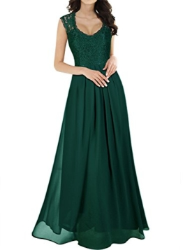 Miusol Damen Ärmellos V-Ausschnitt Spitzenkleid Brautjungfer Cocktailkleid Chiffon Faltenrock Langes Kleid Grün M - 1