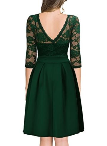 Miusol Damen Elegant Cocktailkleid Spitzen 3/4 Arm Vintage Kleid Brautjungfer 50er Jahr Abendkleid Grün Gr.L - 2