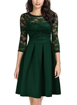 Miusol Damen Elegant Cocktailkleid Spitzen 3/4 Arm Vintage Kleid Brautjungfer 50er Jahr Abendkleid Grün Gr.L - 1