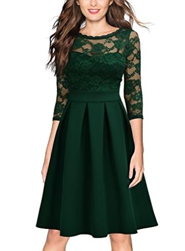 Miusol Damen Elegant Cocktailkleid Spitzen 3/4 Arm Vintage Kleid Brautjungfer 50er Jahr Abendkleid Grün Gr.L - 4