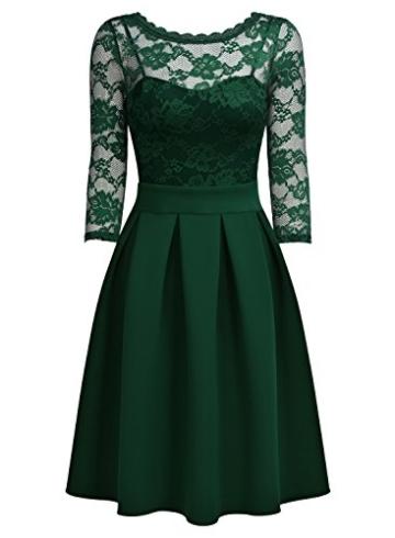 Miusol Damen Elegant Cocktailkleid Spitzen 3/4 Arm Vintage Kleid Brautjungfer 50er Jahr Abendkleid Grün Gr.L - 5