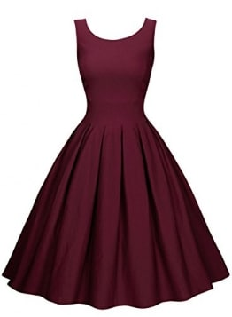 Miusol Damen Elegant Rundhals Traegerkleid 1950er Retro Cocktailkleid Faltenrock Kleid weinrot Groesse L -