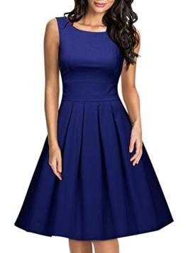 Miusol Damen Elegant Rundhals Traegerkleid 1950er Retro Cocktailkleid Faltenrock Kleid Navy Blau Groesse S - 1