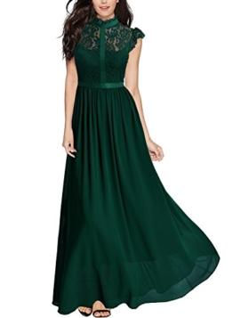 Miusol Damen Elegant Spitzen Abendkleid Brautjungfer Cocktailkleid Chiffon Faltenrock Langes Kleid Gruen Gr.M - 1