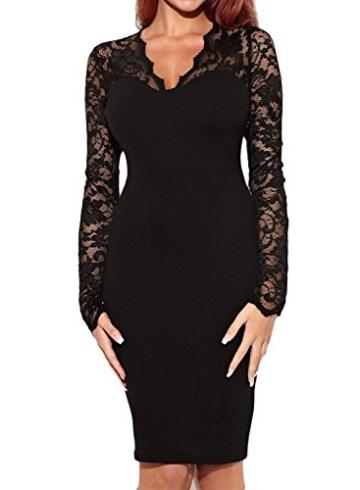 Miusol Damen Kleid U-Ausschnitt Langaermel Celebrity Party Mini Cocktailkleid, Schwarz Gr.XL - 1