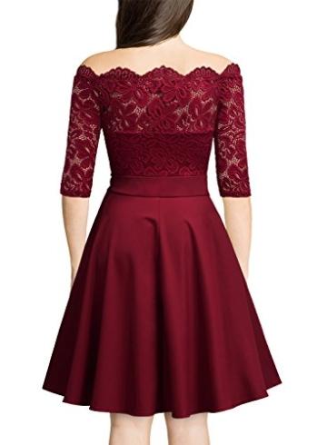 Miusol Damen Vintage 1950er Off Schulter 3/4 Arm Cocktailkleid Retro Spitzen Schwingen Pinup Rockabilly Kleid Rot Gr.XL - 2