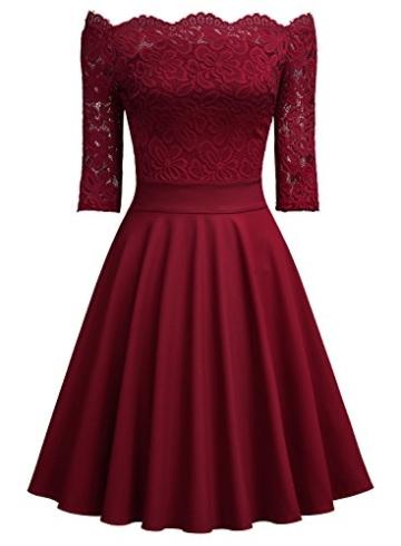 Miusol Damen Vintage 1950er Off Schulter 3/4 Arm Cocktailkleid Retro Spitzen Schwingen Pinup Rockabilly Kleid Rot Gr.XL - 3