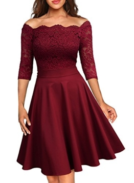 Miusol Damen Vintage 1950er Off Schulter 3/4 Arm Cocktailkleid Retro Spitzen Schwingen Pinup Rockabilly Kleid Rot Gr.XL - 1